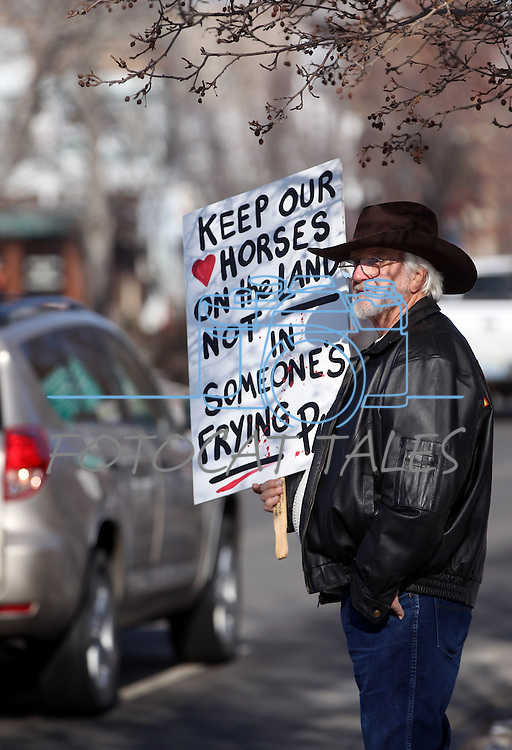 Allen Scott, of Stagecoach, participates in a wild horse rally in front of the Legislature in Carson City on Friday in an effort to draw attention to next week's scheduled auction of 41 wild mustangs who supporters fear will end up at a slaughterhouse..Photo by Cathleen Allison
