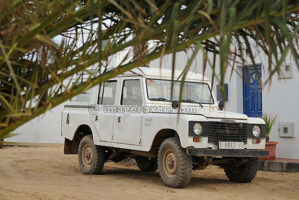 Spain, Canary Islands, Archipielago Chinijo, Isla Graciosa, Caleta del Sebo. Land Rover Santana 6-cyl Station Wagon. --- No releases available. Automotive trademarks are the property of the trademark holder, authorization may be needed for some uses.