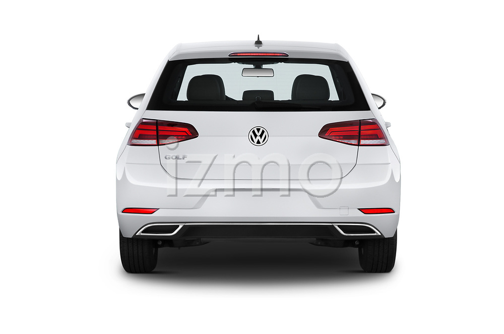 Straight rear view of a 2019 Volkswagen Golf S 5 Door Hatchback stock images