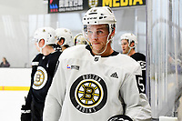 June 28, 2018: Boston Bruins defenseman Olivier Galipeau (56) waits to skate in a drill during the Boston Bruins development camp held at Warrior Ice Arena in Brighton Mass. Eric Canha/CSM
