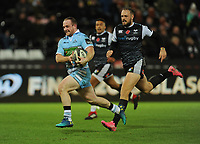 Glasgow Warriors' Nick Grigg runs in his sides fourth try<br /> <br /> Photographer Kevin Barnes/CameraSport<br /> <br /> Guinness Pro14 Round 8 - Ospreys v Glasgow Warriors - Friday 2nd November 2018 - Liberty Stadium - Swansea<br /> <br /> World Copyright &copy; 2018 CameraSport. All rights reserved. 43 Linden Ave. Countesthorpe. Leicester. England. LE8 5PG - Tel: +44 (0) 116 277 4147 - admin@camerasport.com - www.camerasport.com