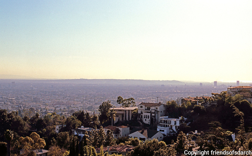F.L. Wright: Ennis-Brown House. View to Southwest from house.  Photo '86.