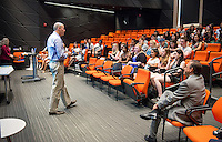 Occidental College President Jonathan Veitch welcomes international students during Orientation, Aug. 21, 2015.
