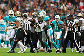 1st October 2017, Wembley Stadium, London, England; NFL International Series, Game Two; Miami Dolphins versus New Orleans Saints; Vonn Bell of the New Orleans Saints and Jarvis Landry of the Miami Dolphins are kept apart