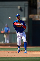 Rancho Cucamonga Quakes third baseman Miguel Vargas (29) throws to first base during a California League game against the Inland Empire 66ers at LoanMart Field on September 2, 2019 in Rancho Cucamonga, California. Rancho Cucamonga defeated Inland Empire 4-3. (Zachary Lucy/Four Seam Images)