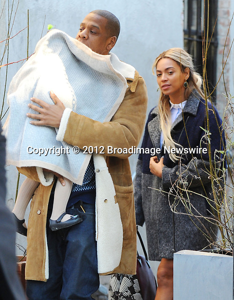 Pictured: Beyonce Knowles, Jay Z, Blue Ivy<br /> Mandatory Credit &copy; Jayme Oak/Broadimage<br /> Jay Z and wife Beyonce Knowles take their precious cargo baby Blue Ivy to lunch in a restaurant in Brooklyn in New York City<br /> <br /> 1/20/14, New York, New York, United States of America<br /> <br /> Broadimage Newswire<br /> Los Angeles 1+  (310) 301-1027<br /> New York      1+  (646) 827-9134<br /> sales@broadimage.com<br /> http://www.broadimage.com<br /> <br /> <br /> Pictured: Beyonce Knowles, Jay Z, Blue Ivy<br /> Mandatory Credit &copy; Jayme Oak/Broadimage<br /> Jay Z and wife Beyonce Knowles take their precious cargo baby Blue Ivy to lunch in a restaurant in Brooklyn in New York City<br /> <br /> 1/20/14, New York, New York, United States of America<br /> Reference: 011914_JKNY_BDG_012<br /> <br /> Broadimage Newswire<br /> Los Angeles 1+  (310) 301-1027<br /> New York      1+  (646) 827-9134<br /> sales@broadimage.com<br /> http://www.broadimage.com