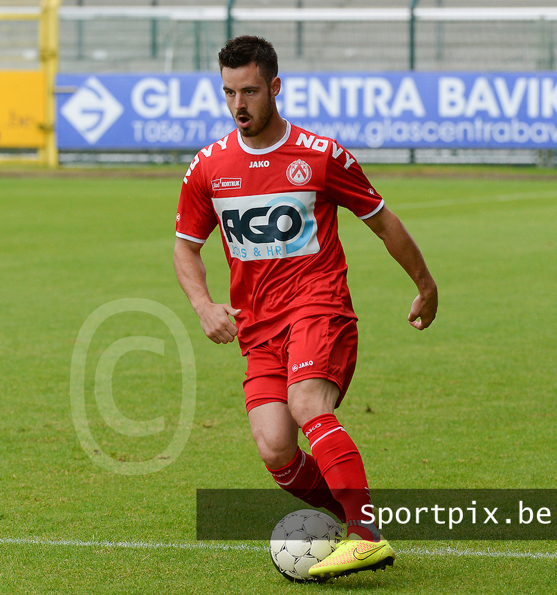 20140627 - HARELBEKE , BELGIUM:  Kortrijk's Baptiste Ulens pictured during a friendly match between SW Harelbeke and Belgian first division soccer team KV Kortrijk, the third match for Kortrijk of the preparations for the 2014-2015 season, Friday 27 June 2014 in Bissegem. PHOTO DAVID CATRY