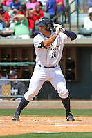 Charleston RiverDogs infielder Mike Ford #26 at bat during a game against the Greenville Drive at Joseph P. Riley Jr. Ballpark  on April 9, 2014 in Charleston, South Carolina. Greenville defeated Charleston 6-3. (Robert Gurganus/Four Seam Images)