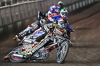 Heat 1: Hans Andersen (red), Andreas Jonsson (green), Oliver Allen (blue) and Leigh Lanham (yellow) - Coventry Bees vs Lakeside Hammers - Craven Shield Final 2nd Leg at Brandon, Coventry - 24/10/08 - MANDATORY CREDIT: Rob Newell/TGSPHOTO