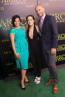 VANCOUVER, BC - OCTOBER 22: Katrina Law, Caity Lotz and Paul Blackthorne at the 100th episode celebration for tv's Arrow at the Fairmont Pacific Rim Hotel in Vancouver, British Columbia on October 22, 2016. Credit: Michael Sean Lee/MediaPunch