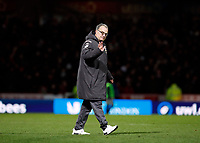 11th February 2020; Griffin Park, London, England; English Championship Football, Brentford FC versus Leeds United; Leeds United Manager Marcelo Bielsa waving to traveling Leeds United fans after the final whistle