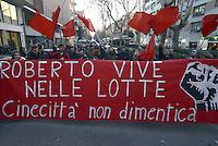 Roma, 28 Febbraio 2013.Cinecittà.Corteo per ricordare Roberto Scialabba, giovane del quartiere ucciso dai fascisti il 28 Febbraio 1978..