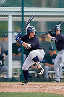 New York Yankees Andres Chaparro (32) at bat during an Instructional League game against the Pittsburgh Pirates on September 28, 2017 at Pirate City in Bradenton, Florida.  (Mike Janes/Four Seam Images)