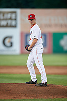 Auburn Doubledays relief pitcher Connor Zwetsch (37) gets ready to deliver a pitch during a game against the Batavia Muckdogs on June 15, 2018 at Falcon Park in Auburn, New York.  Auburn defeated Batavia 5-1.  (Mike Janes/Four Seam Images)