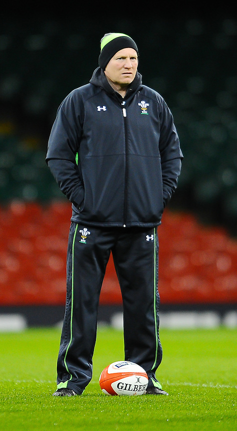 Wales Kicking Coach Neil Jenkins during the warm up ahead of the Wales training session <br /> <br /> Photographer Craig Thomas/CameraSport<br /> <br /> International Rugby Union - 2015 RBS 6 Nations Championship - Wales Training Session - Friday 13th March 2015 - Millennium Stadium - Cardiff<br /> <br /> &copy; CameraSport - 43 Linden Ave. Countesthorpe. Leicester. England. LE8 5PG - Tel: +44 (0) 116 277 4147 - admin@camerasport.com - www.camerasport.com