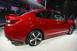 The 2017 Subaru Impreza Sport sedan with rear spoiler is unveiled at the New York International Auto Show 2016, at the Jacob Javits Center. This was Press Preview Day one of NYIAS, and the Trade Show will be open to the public for ten days, March 25th through April 3rd.