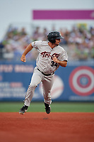 Tri-City ValleyCats Matthew Barefoot (34) running the bases during a NY-Penn League game against the Brooklyn Cyclones on August 17, 2019 at MCU Park in Brooklyn, New York.  Brooklyn defeated Tri-City 2-1.  (Mike Janes/Four Seam Images)