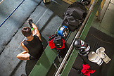 USA, Oahu, Hawaii, MMA Mixed Martial Arts Ultimate fighter Lowen Tynanes trains and spars at his gym in Honolulu