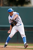 Ryan Deeter #40 of the UCLA Bruins pitches against the Washington Huskies at Jackie Robinson Stadium on March 17, 2013 in Los Angeles, California. (Larry Goren/Four Seam Images)