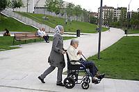 - Milano, quartiere CityLife, donna anziana con la sua badante<br /> <br /> - Milan CityLife district, elderly woman with her caregiver