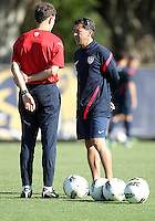 MIAMI, FL - DECEMBER 21, 2012:  Head coach Tab Ramos talks to assistant coach Javier Perez of the USA MNT U20 during a closed scrimmage with the Venezuela U20 team, on Friday, December 21, 2012, At the FIU soccer field in Miami.  USA won 4-0.