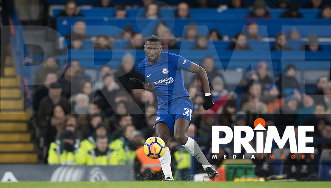 Antonio Rudiger of Chelsea during the Premier League match between Chelsea and West Bromwich Albion at Stamford Bridge, London, England on 12 February 2018. Photo by Andy Rowland.