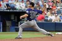 Colorado Rockies starting pitcher Tyler Chatwood #32 delivers a pitch during a game against the Atlanta Braves at Turner Field on September 3, 2012 in Atlanta, Georgia. The Braves  defeated the Rockies 6-1. (Tony Farlow/Four Seam Images).
