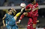Soccer. Australia v Turkey  Ante Milicic (left) is in imminent danger from Bulent Korkmaz' right boot.