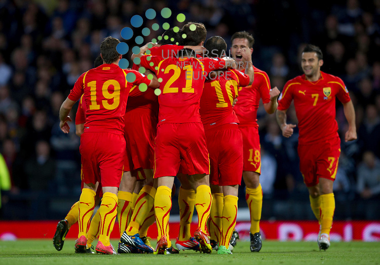Macedonia celebrate their goal during the FIFA World Cup Qualifier between Scotland and Macedonia at Hampden Park, Glasgow. 11 September 2012. Picture by Ian Sneddon / Universal News and Sport (Scotland). All pictures must be credited to www.universalnewsandsport.com. (Office) 0844 884 51 22.