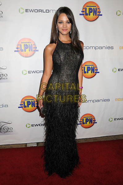 PAULA GARCES .2008 ALMA Awards Post Reception at Villia Sorriso Ristorante, Pasadena, California, USA..August 17th, 2008.full length black dress feathers .CAP/ADM/BP.©Byron Purvis/AdMedia/Capital Pictures.