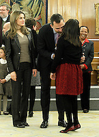 Prince Felipe of Spain and Princess Letizia of Spain attend audiences with a group of children painting competition winners 'Work of Missionary Infancy'.January 9 ,2012. (ALTERPHOTOS/Acero) /NortePhoto