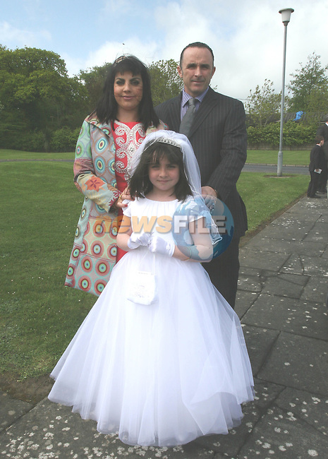 Kelly, Robyn and Paul Sheehy at the Whitecross First Holy Communion...Photo NEWSFILE/Jenny Matthews.(Photo credit should read Jenny Matthews/NEWSFILE)....This Picture has been sent you under the condtions enclosed by:.Newsfile Ltd..The Studio,.Millmount Abbey,.Drogheda,.Co Meath..Ireland..Tel: +353(0)41-9871240.Fax: +353(0)41-9871260.GSM: +353(0)86-2500958.email: pictures@newsfile.ie.www.newsfile.ie.FTP: 193.120.102.198.