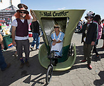Mindy Chairez in the Mad Crapper outhouse during the World Championship Outhouse Races in Virginia City, Nevada on Sunday, Oct. 8, 2017.