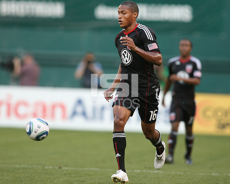 Jordan Graye #16 of D.C.United during an MLS match against the Kansas City Wizards at RFK Stadium on May 5 2010, in Washington DC. United won 2-1