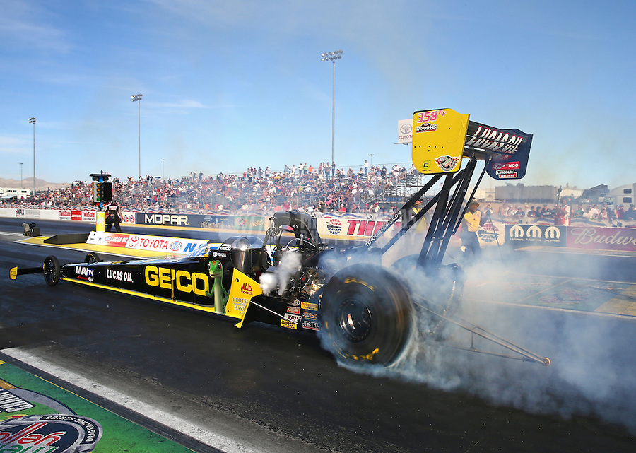 Oct 31, 2014; Las Vegas, NV, USA; NHRA top fuel driver Richie Crampton during qualifying for the Toyota Nationals at The Strip at Las Vegas Motor Speedway. Mandatory Credit: Mark J. Rebilas-USA TODAY Sports