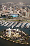 Aerial view of downtown Long Beach, CA with Shoreline Marina and one of the oil islands.