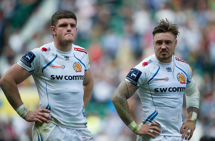 Dave Ewers of Exeter Chiefs with Jack Nowell, dejected at the final whistle<br /> <br /> Photographer Ashley Western/CameraSport<br /> <br /> Rugby Union - Aviva Premiership Final - Saracens v Exeter Chiefs - Saturday 28th May 2016 - Twickenham Stadium, Twickenham, London  <br /> <br /> World Copyright &copy; 2016 CameraSport. All rights reserved. 43 Linden Ave. Countesthorpe. Leicester. England. LE8 5PG - Tel: +44 (0) 116 277 4147 - admin@camerasport.com - www.camerasport.com