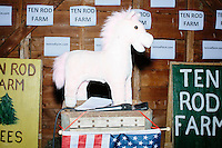 A pony stuffed animal stands on a podium with an American flag before satirical presidential candidate Vermin Supreme speaks at Ten Rod Farm in Rochester, New Hampshire. Supreme's platform advocates a pony-based economy, using zombies to solve the energy crisis, and other outlandish ideas. Supreme has been on the New Hampshire primary ballot in 2008 and 2012, though he has been running for president in 1992. Vermin Supreme will be on the Democratic party ballot in the 2016 New Hampshire primary.
