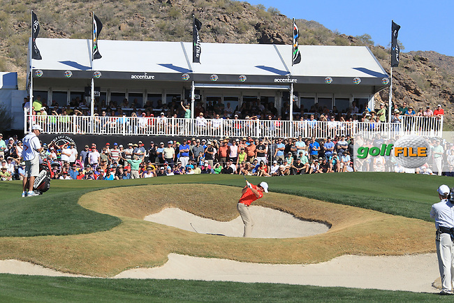 Rory McIlroy (NIR) playing out of the green side bunker on the 13th on day 4 Saturday quarterfinal at the WGC - Accenture Match Play Championship,Ritz-Carlton GC, Dove Mountain, Marana, Arisona, USA..22 Feb 2012 - 26 Feb 2012.Picture: Fran Caffrey www.golffile.ie