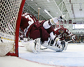 Paul Dainton (UMass - 31), Joe Whitney (BC - 15), Michael Marcou (UMass - 22) - The Boston College Eagles defeated the University of Massachusetts-Amherst Minutemen 6-5 on Friday, March 12, 2010, in the opening game of their Hockey East Quarterfinal matchup at Conte Forum in Chestnut Hill, Massachusetts.