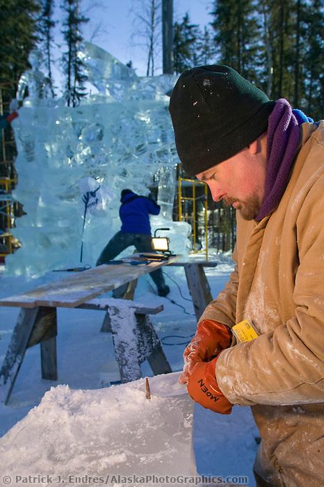 Ascension Multi Block, 2003 World Ice Art Championships, Fairbanks Alaska. Multi Block Carl Eady, Dennis Wallace, Larry Moen, Horst Uhl,