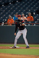 Richmond Flying Squirrels first baseman Gio Brusa (28) during an Eastern League game against the Bowie Baysox on August 15, 2019 at Prince George's Stadium in Bowie, Maryland.  Bowie defeated Richmond 4-3.  (Mike Janes/Four Seam Images)