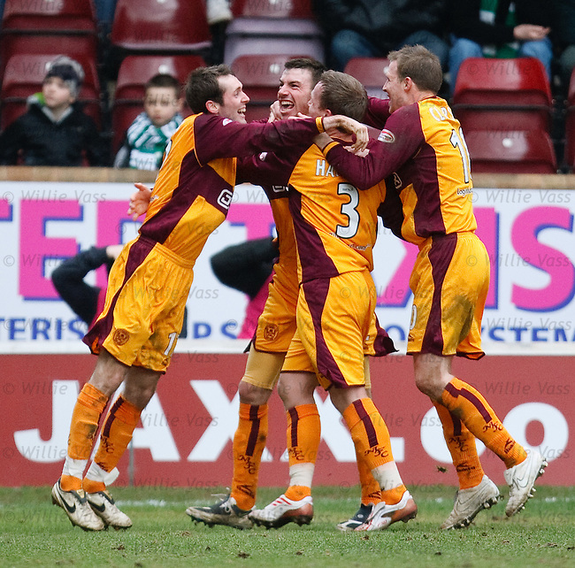 Paul Quinn celebrates his goal for Motherwell