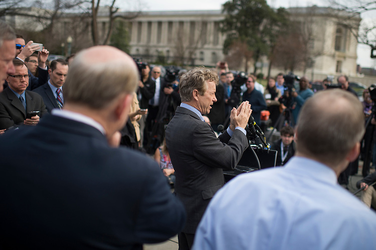 UNITED STATES - MARCH 7: Sen. Rand Paul, R-Ky., conducts a news conference with members of the House Freedom Caucus at the House Triangle, where they criticized the House Republican's new healthcare plan, American Health Care Act, March 7, 2017. (Photo By Tom Williams/CQ Roll Call)