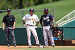 03 June 2016: Nova Southeastern's Andres Visbal (10) holds Millersville's Tyler Orris (8) on first base. The Nova Southeastern University Sharks played the Millersville University Marauders in Game 13 of the 2016 NCAA Division II College World Series  at Coleman Field at the USA Baseball National Training Complex in Cary, North Carolina. Nova Southeastern won the first game of the best of three Championship Series 2-1.