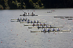 Rowing, Men's Lightweight Fours at the start, Great Britain Men's Lightweight Four, Richard Chambers, Paul Mattick, Rob Williams, Chris Bartley, foreground, British National Rowing Team,  heat, Monday 1 November, 2010 FISA World Rowing Championships, 2010, Lake Karapiro, Karapiro, Hamilton, New Zealand,
