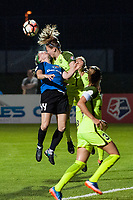 Kansas City, MO - Saturday June 17, 2017: Maegan Kelly, Kristen McNabb during a regular season National Women's Soccer League (NWSL) match between FC Kansas City and the Seattle Reign FC at Children's Mercy Victory Field.
