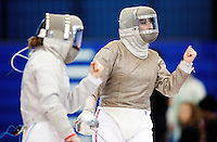 27 FEB 2011 - LONDON, GBR - Britain's Joanna Hutchison (right appeals for a point during her match against Germany's Alexandra Bujdoso at fencing's  England Cup team sabre tournament at the National Sports Centre at Crystal Palace .(PHOTO (C) NIGEL FARROW)