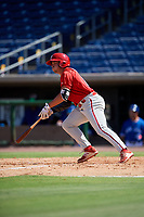 Philadelphia Phillies left fielder Ben Akilinski (25) follows through on a swing during a Florida Instructional League game against the Toronto Blue Jays on September 24, 2018 at Spectrum Field in Clearwater, Florida.  (Mike Janes/Four Seam Images)