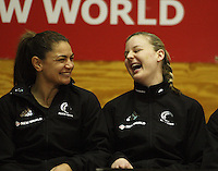 NZ's Temepara George and Katrina Grant share a laugh before the match during the International  Netball Series match between the NZ Silver Ferns and World 7 at TSB Bank Arena, Wellington, New Zealand on Monday, 24 August 2009. Photo: Dave Lintott / lintottphoto.co.nz